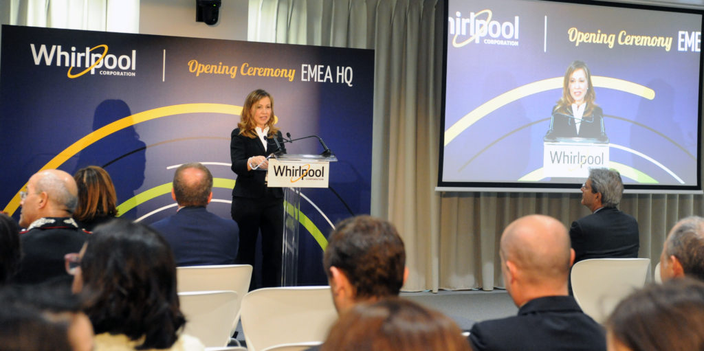 "Esther Berrozpe Galindo: ""This moment is yet another sign of the consolidation of our Company's presence in Italy, 28 years after Whirlpool came to Europe, right here in Lombardy"""
