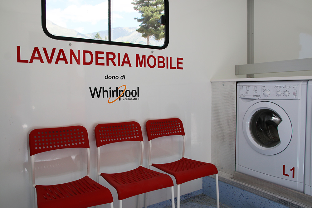 First ever mobile laundromat mobile laundromat by Whirlpool Corporation delivered to Amatrice