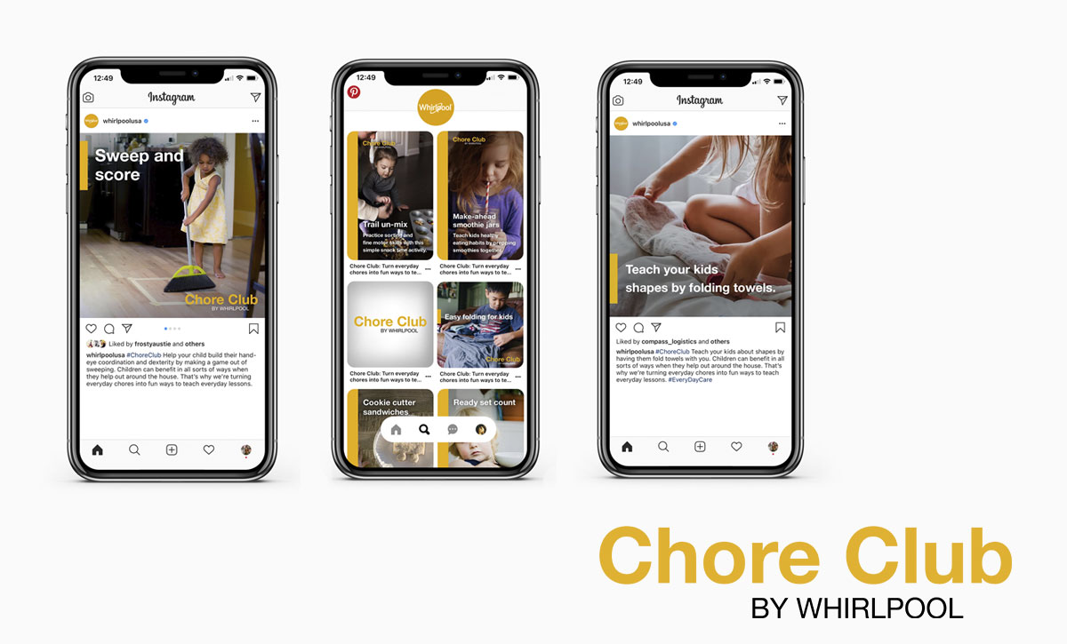 Whirlpool brand Chore Club on printers and instagram