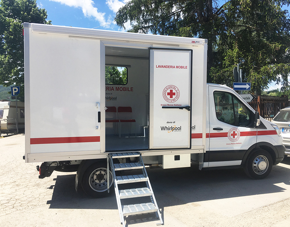 Mobile laundromat delivered to community of Amatrice is designed in joint collaboration between the Whirlpool Corporation and the Italian Red Cross