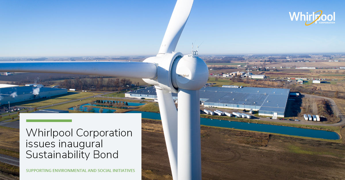 Photo of Wind Turbine with announcement for Whirlpool inaugural Sustainability Bond