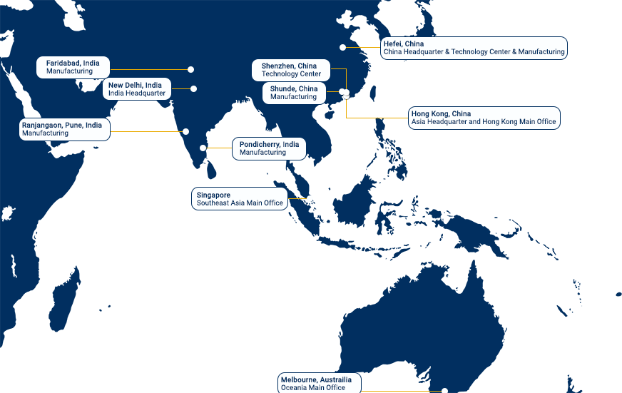 Whirlpool Corp Locations - ASIA Map